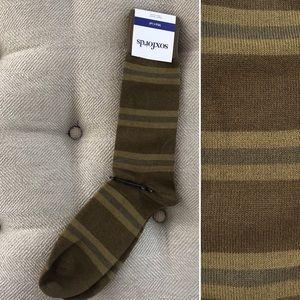 Soxfords Olive Oiled Stripe Novelty Socks NWT 8-12